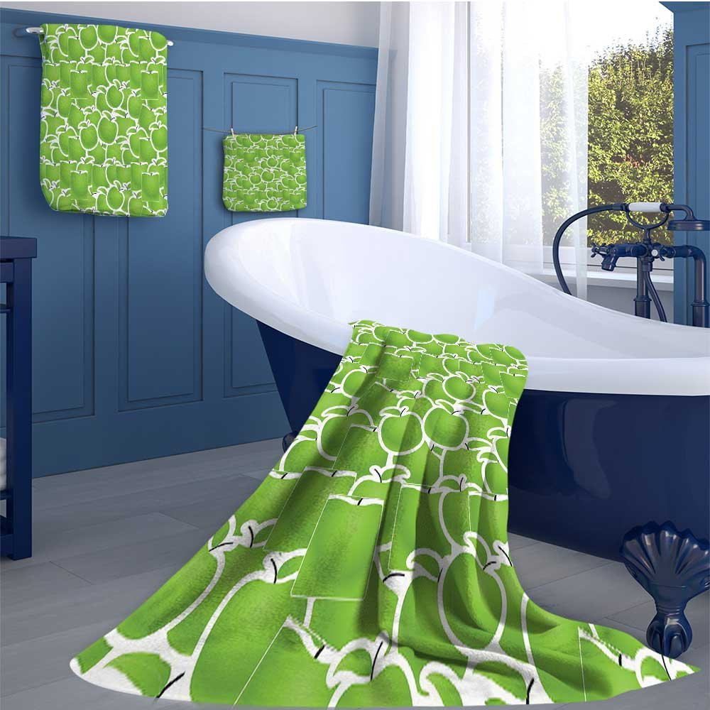 alisoso Apple Long Bathroom Accessories Set Fresh Green Variety of Juicy Winter Fruits Abstract Sour Snack Illustration Design Custom towel set Lime Green White