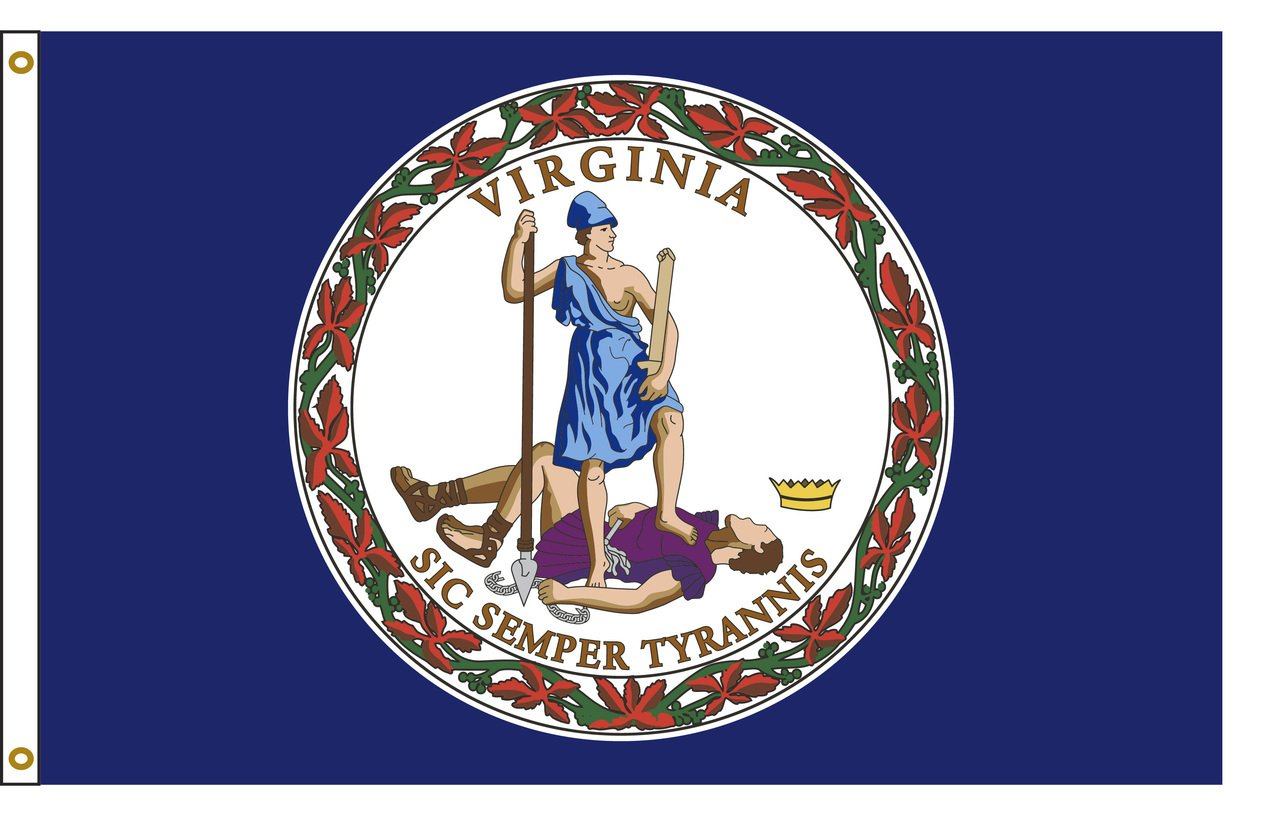 Virginia 8ftx12ft Nylon State Flag 8x12 Made In USA 8'x12'