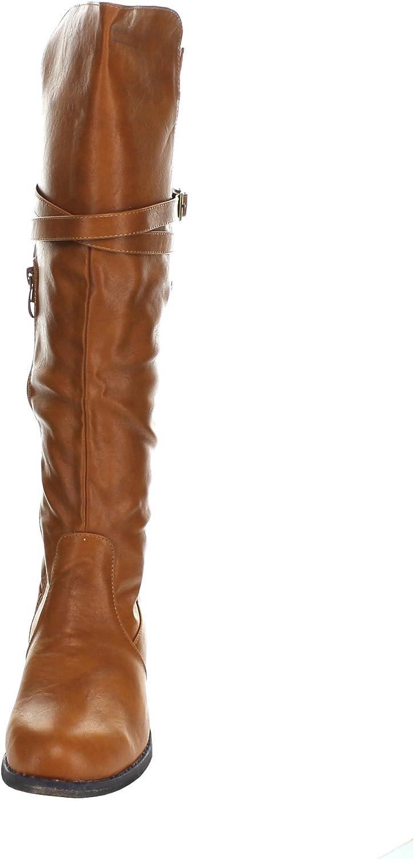 TOP Moda Womens Fay-3 Knee High Buckle Riding Boots,Tan,8.5