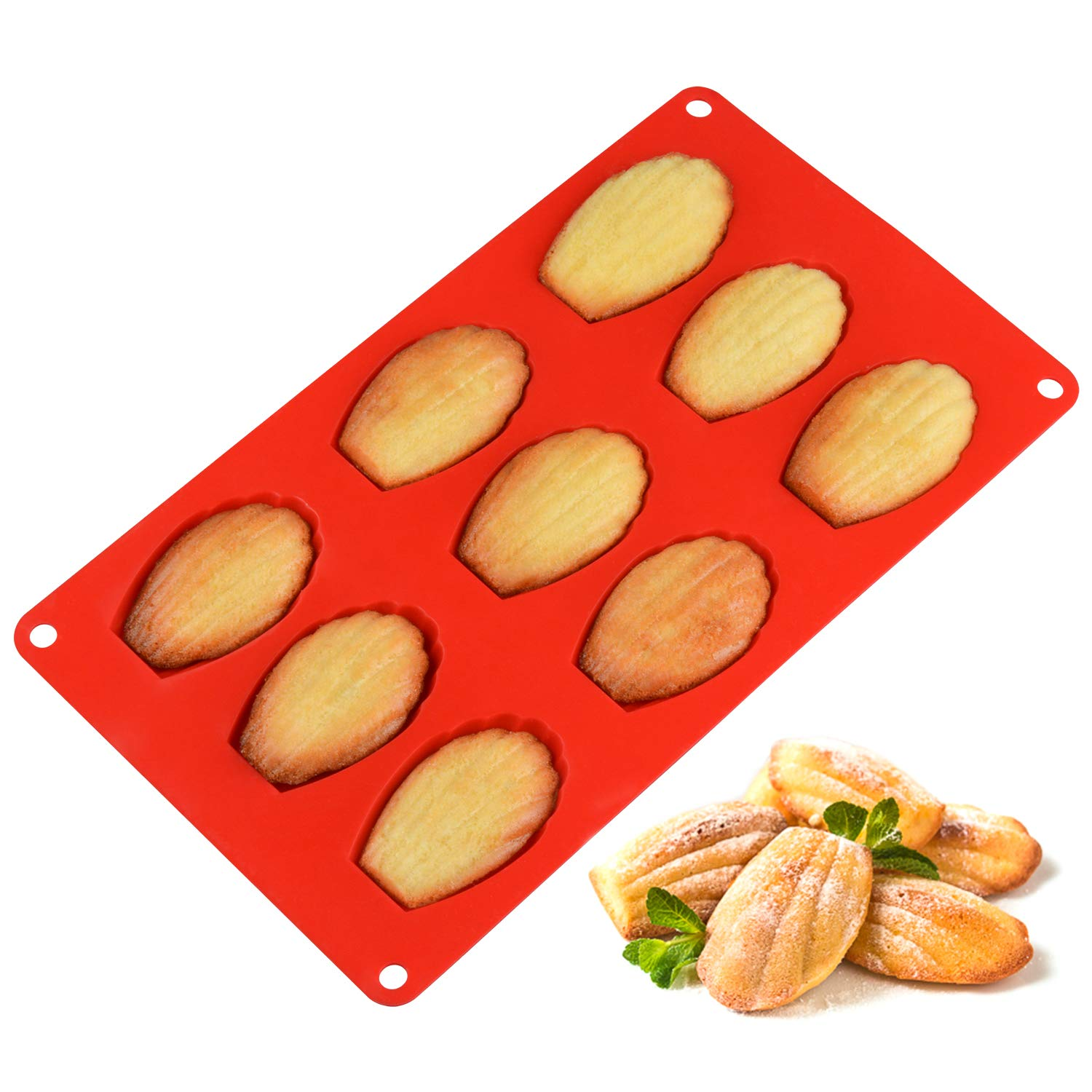 Silicone Madeleine Pans - 9 Cups Madeleine Mold for Small Cake, Chocolate, Cookies Pack of 2 by CAKETIME (Image #2)
