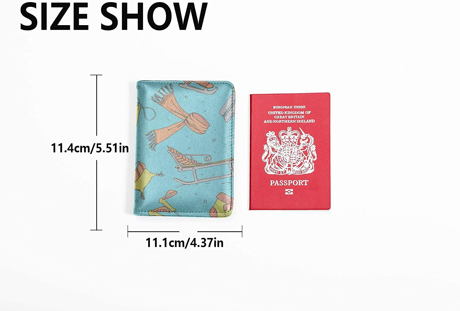 Kids Passport Holder Cover Entertainment Fun Sled Toy Skiing Kids Passport Case Multi Purpose Print Passport Holder Wallet Cover Case Travel Wallets For Unisex 5.51x4.37 Inch