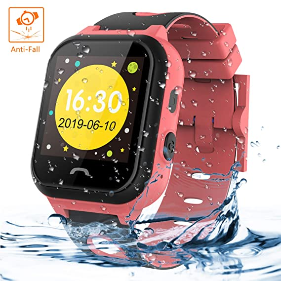 Themoemoe Kids Smartwatch Phone, Kids Smartwatch Waterproof Anti-Fall 2G GPS/LBS Tracker SOS Camera Games Compatible with Android iOS(Pink)