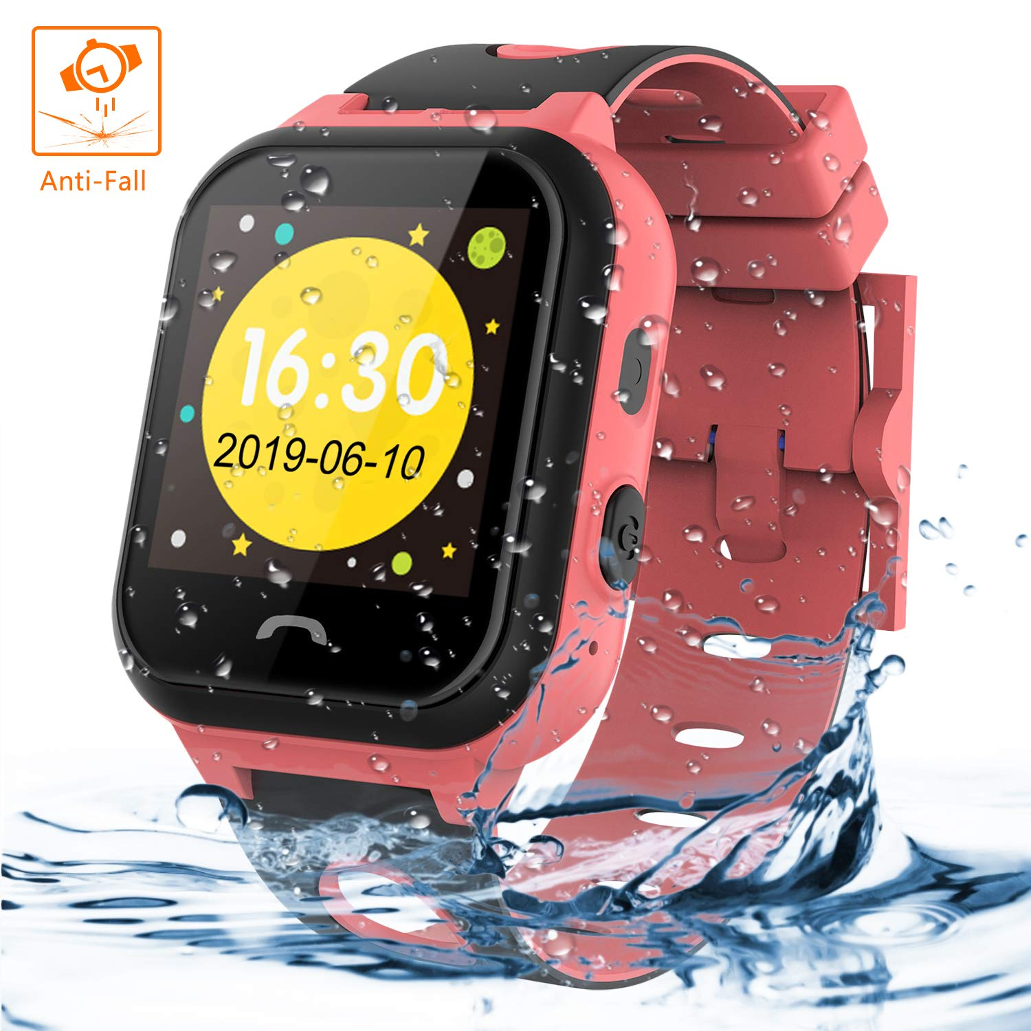 Kids Tracker Smart Watch Phone, Vannico Touch Screen Mobile Smart Watches for Girls Boys, Waterproof Anti-fall SOS Sim Smartwatch with Flashlight, Camera, Alarm for Kids (Pink)