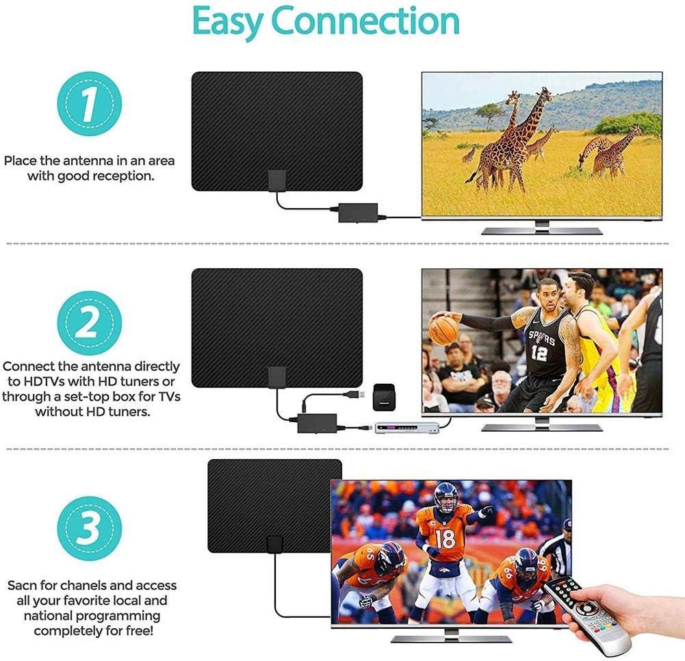 Fibra de carbono profesional 180 millas Antena de TV TV interior Canales digitales HD Todo tipo Interruptor de televisión Amplificador Amplificador de señal Antena 4K HD TDT Vida local Vida local: Amazon.es: