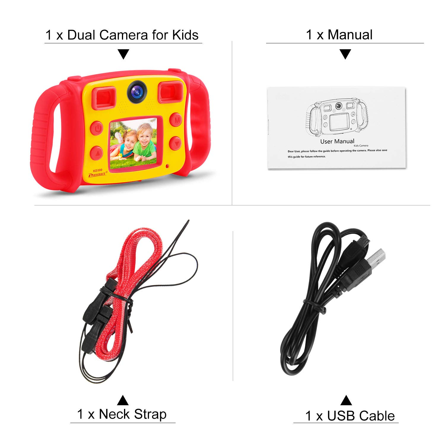 Prograce Kids Camera Dual Camera Selfie Digital Video Camera Camcorder for Boys Girls with 4X Digital Zoom, Flash Light and Funny Game(Red) by Prograce (Image #8)