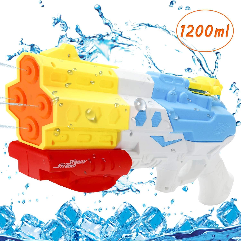 1200ml Super Water Blaster Water Pistol Summer Water Guns Powerful Long Distance For Kids Adults With 8-10 Meter Range Party Blaster Swimming Beach Summer Pool Bath Beach Toys EPCHOO Water Gun