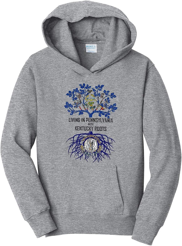 Tenacitee Girls Living in Pennsylvania with Kentucky Roots Hooded Sweatshirt