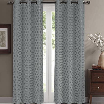 Willow Jacquard Gray Grommet Blackout Window Curtain Panels, Pair / Set of 2 Panels,