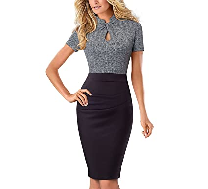 TheUniqueHouse Vintage Contrast Color Patchwork Vestidos Bodycon Office Sheath Women Dress,Black and Gray,