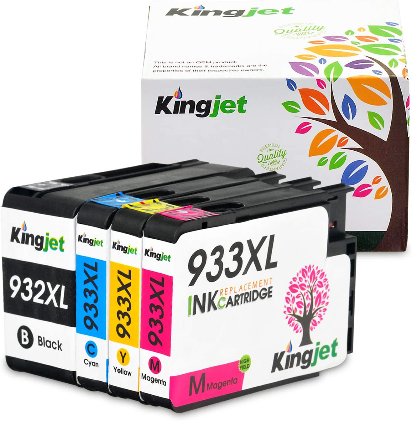 Kingjet Compatible Ink Cartridge Replacement for 932XL 933XL Work with Officejet 6100 6600 6700 7110 7510 7610 7612 Printers, (1SET)
