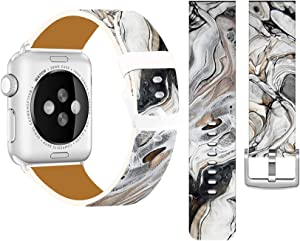 Band Compatible with Iwatch 42mm/44mm & Cisland Leather Strap Compatible with Apple Watch Series 1/2/3/4/5/6/SE Sport & Edition Vintage Creative Marble Stone Print