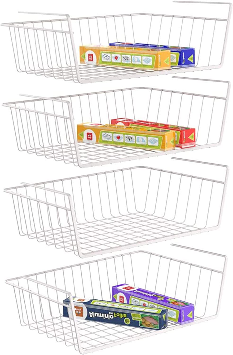 Under Shelf Basket, Pantry Organization and Storage Anti Rust White Wire Storage Basket for Pantry Cabinet Closet Desk Bookshelf Cupboard, 4 Pack