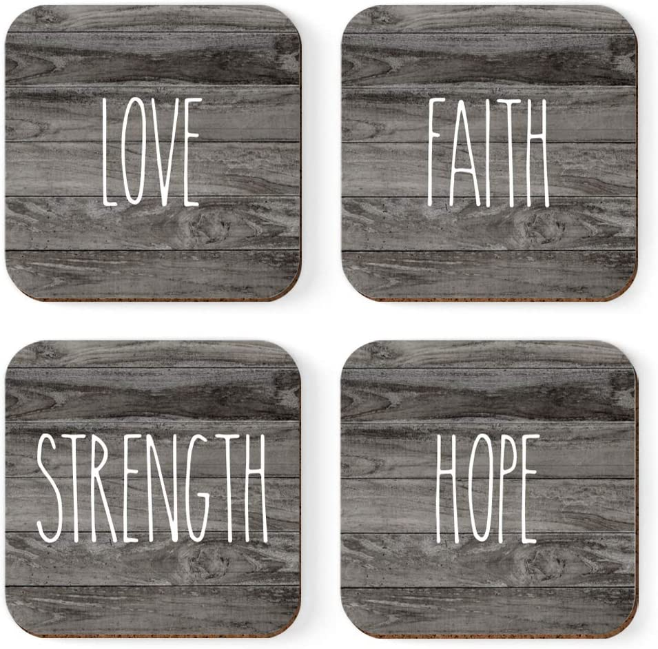 Andaz Press Rustic Farmhouse Collection, Square Drink Coasters Gift Set, Love, Faith, Strength, Hope, 4-Pack, Housewarming Office Graduation Gifts