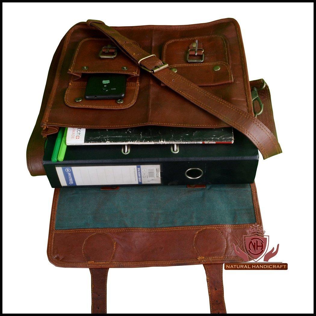 d4d2f1a68e7a Prastara Handmadecraft Leather Unisex Real Leather Messenger Bag for Laptop  Briefcase Satchel (Brown, 20 x 15x 2)