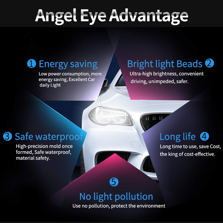 2 unidades X3 6 7 blanco X5 10W Coche Faros Angel Eyes Alta Potencia Halo Marcador Anillo Bombillas 6000K Blanco Para E39//E53//E60//E61//E63//E64//E65//E66// Serie 5