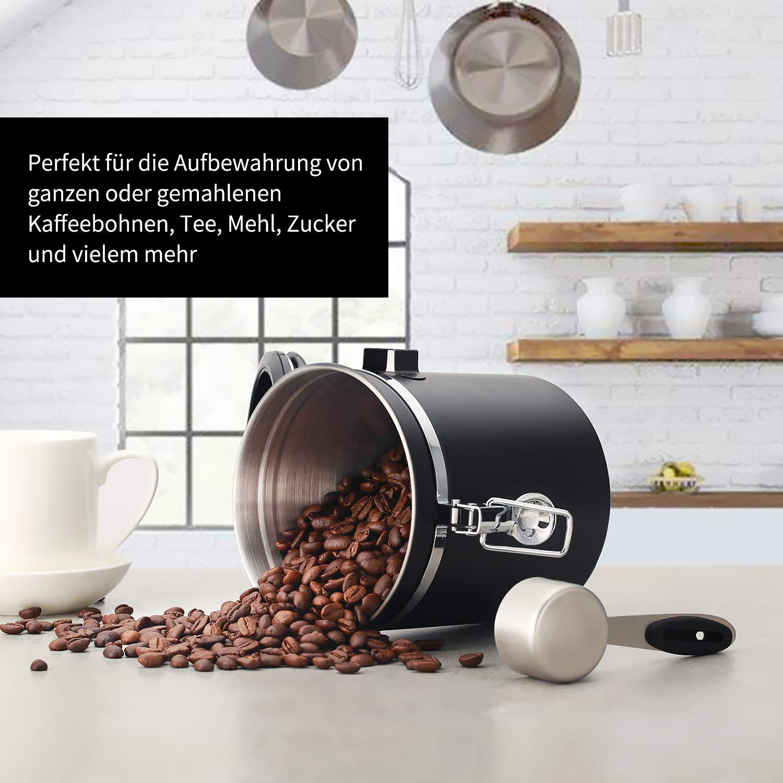 Kaffeedose Luftdicht Kaffeebeh/älter Pulver N/üsse Kaffeedose Edelstahl Aromadose Vorratsdose Vakuum Dose f/ür Kaffeebohnen Beaspire Kaffeedose Schwarz Tee Kakao Durchmesser:13cm // H/öhe:15cm