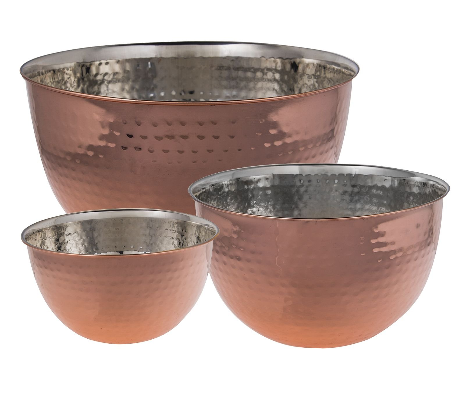 Set Of 3 Copper Hammered Mixing Bowls With Stainless Steel Interior Finish Nesting Bowls, Chef Cookware Set, by Le'raze (Image #3)