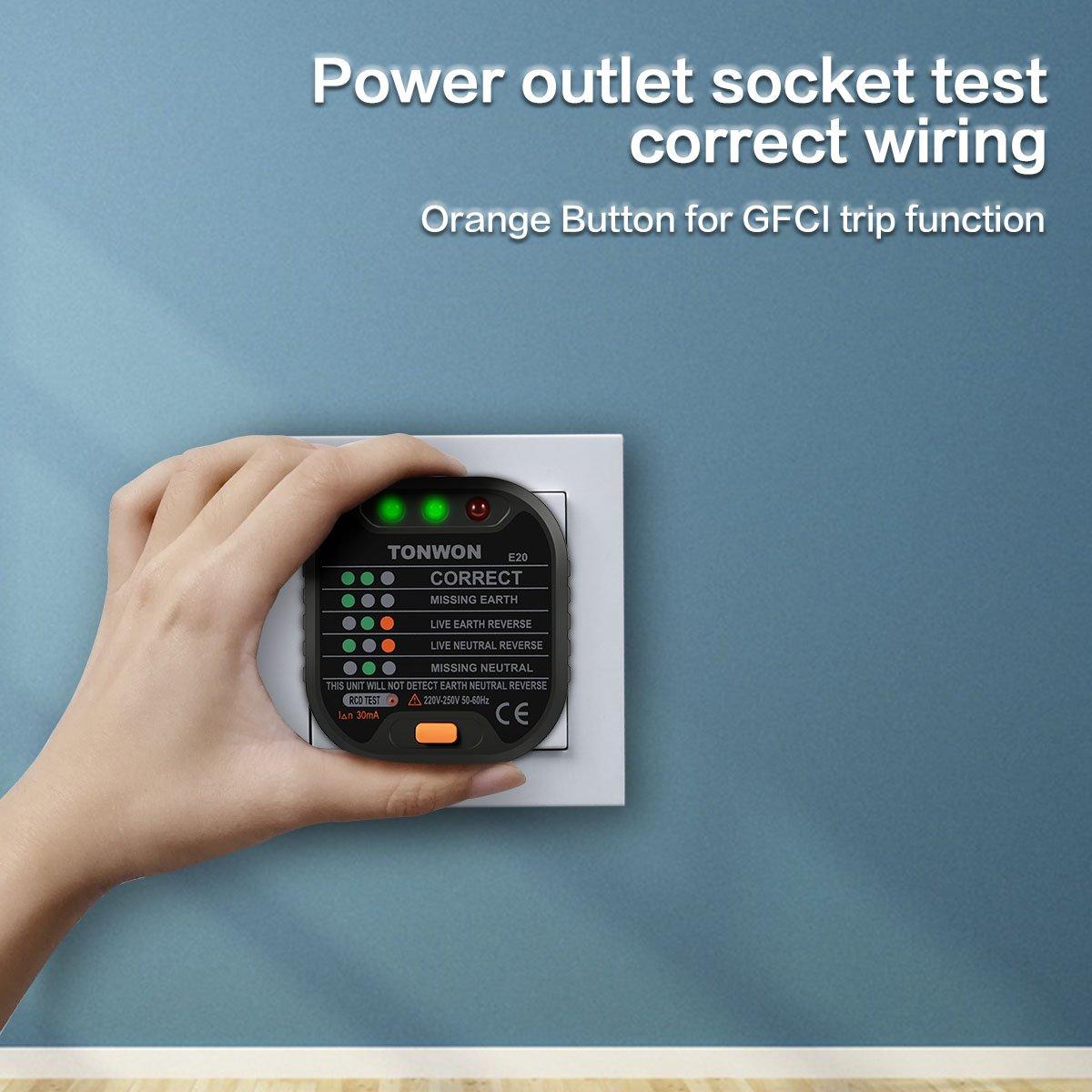 Polarit/é de Circuit /Électrique Automatique Test de Fuite /Électrique Plug Switch Finder Testeur de Prise de Courant Prise de Courant Avanc/ée TONWON GFCI Testeur de C/âblage /Électrique