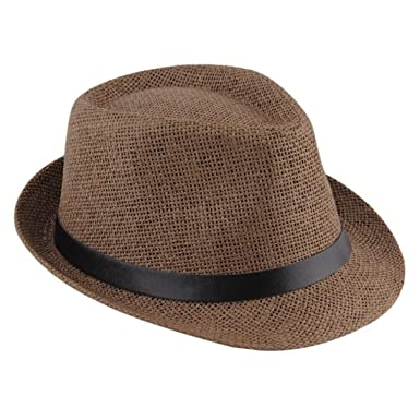 0b61682ed1d ECYC® Men Women Trilby Hat Large Size Straw Sun Summer Beach Hat With Black  Belt