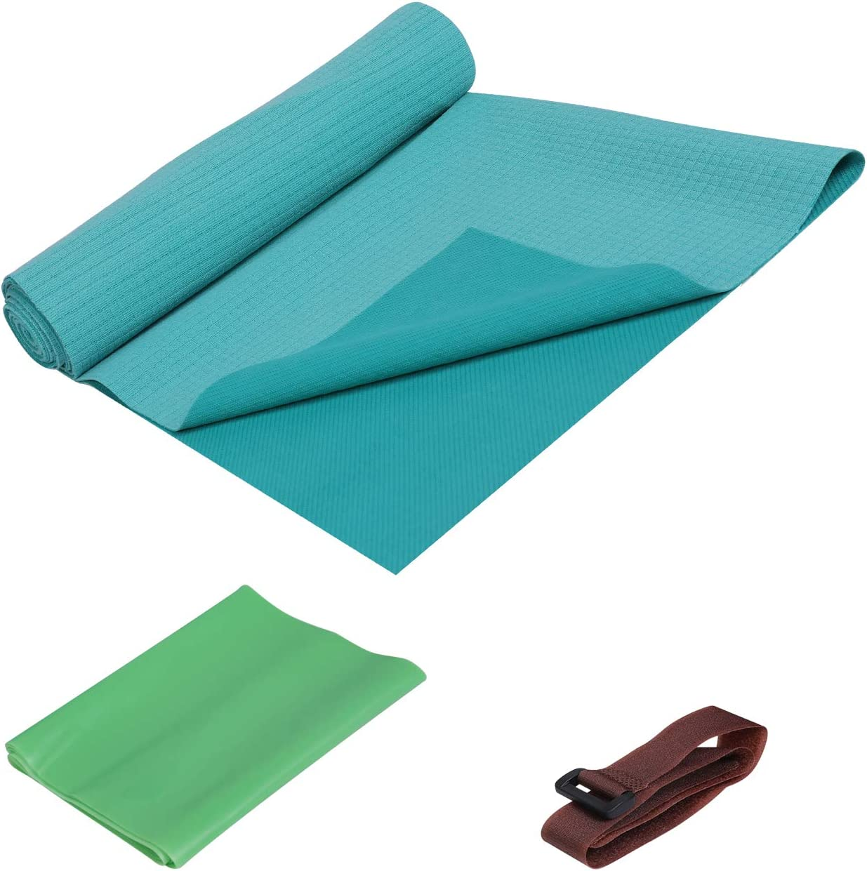 FrenzyBird 1mm Travel Yoga Mat/Towel with Mat Bind and Elastic String,Light Weighted,Foldable, Ideal for Hot Yoga,Bikram,Pilates,Barre, Sweat