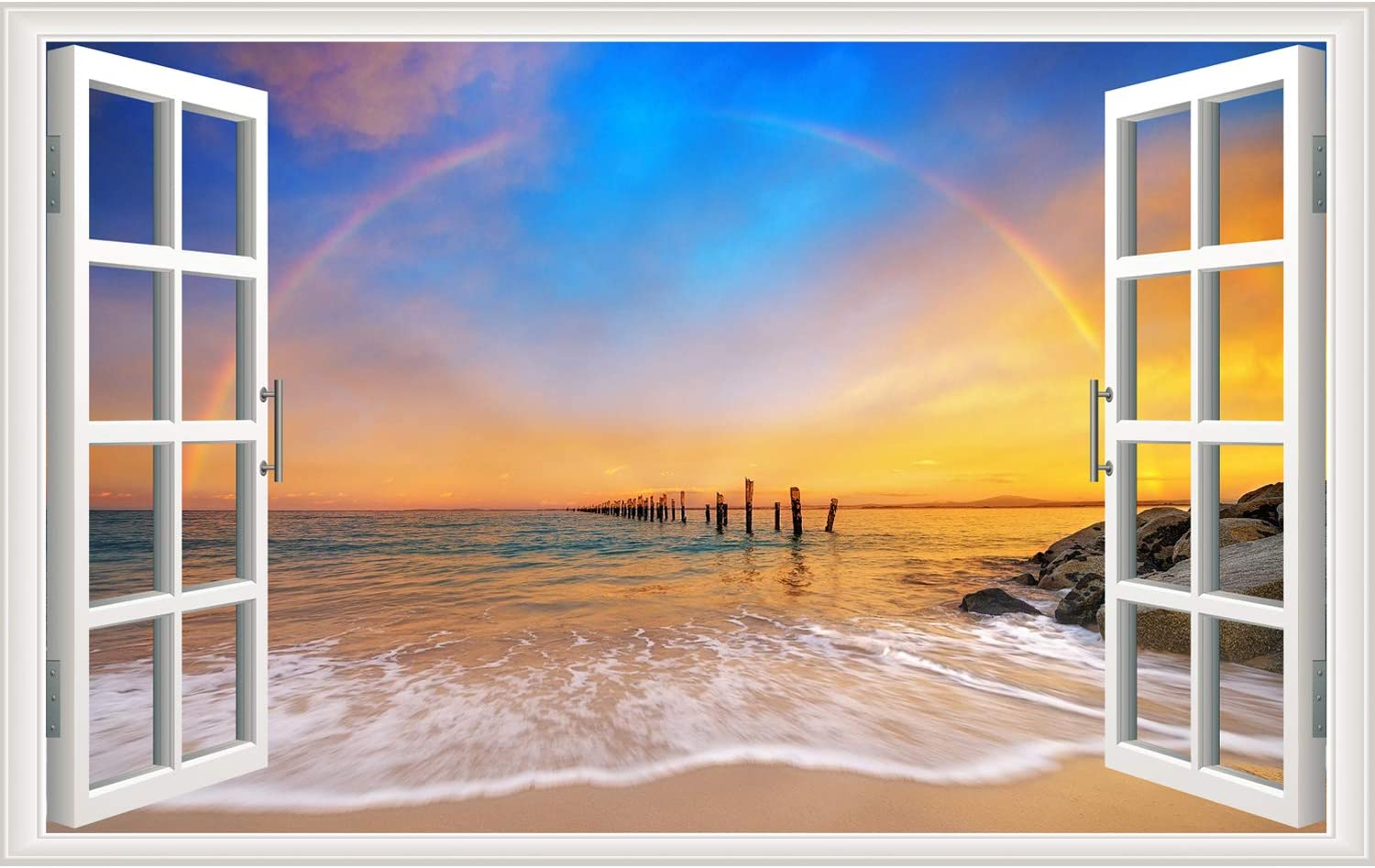 Rajahubri 3D Beach Wall Stickers Fake Window Wall Decals Seascape of Rainbow Window View Wall Stickers Removable Sunset Wall Decal for Office Bedroom