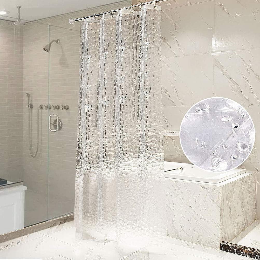 同時病気だと思う広まったAFFLLA シャワーカーテン バスカーテン 防水 防カビ 風呂カーテン 洗面所 間仕切り 目隠し 高級 リング付属 厚手 シンプル おしゃれ 取付簡単 ポリエステル 120×180cm