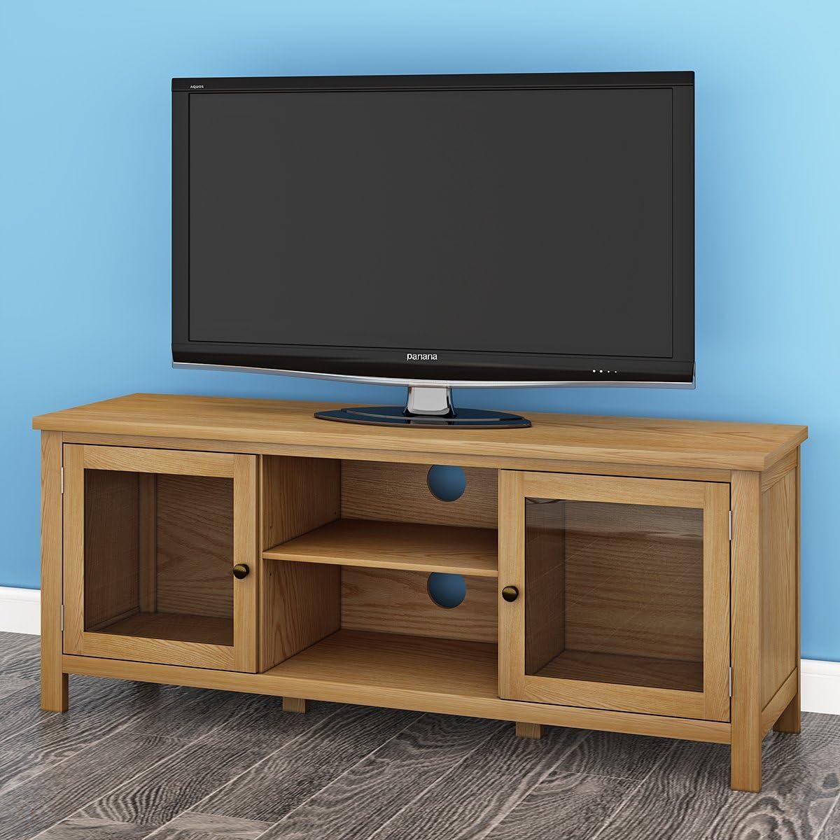 Keinode Mueble de TV Moderno de Roble Macizo para Esquina de TV, 2 Puertas, 2 estantes, Unidad de Almacenamiento de DVD para Sala de Estar o Dormitorio Type A: Amazon.es: Electrónica