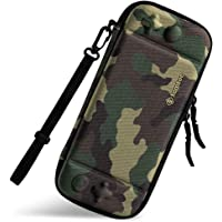 tomtoc Ultra Slim Carrying Case Fit for Nintendo Switch, Original Patent Portable Hard Shell Travel Case Pouch Protective Cover, 10 Game Cartridges, Military Level Protection, Camo