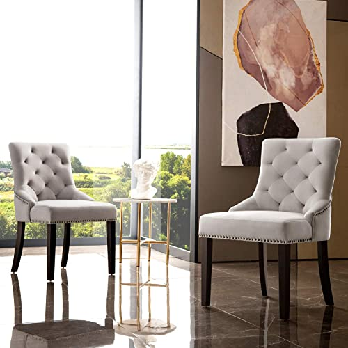 OVIOS Dining Chairs,Velvet Accent Chair Set of 2,Kitchen Chairs with Brown Solid Wood Legs 2, Grey