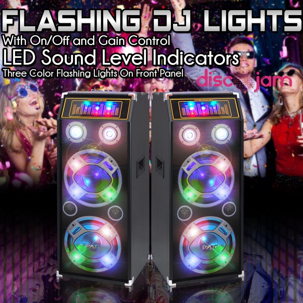 PYLE PSUFM1030P 1000-Watt Passive DJ Speaker System with 10'' Subwoofers, Flashing DJ Lights by Pyle (Image #5)