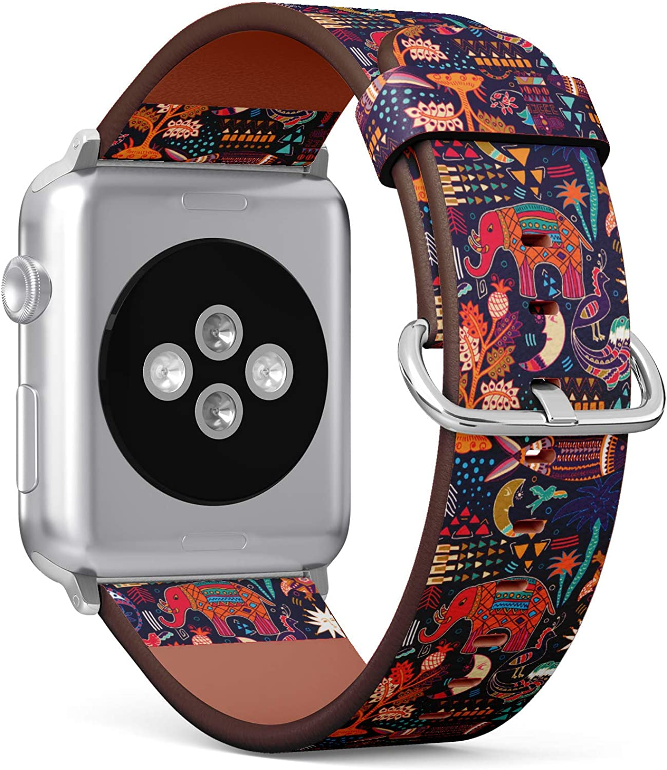 (Hand Drawn Tribal Pattern with Decorative Elephant Fish Moon and Geometric Elements) Patterned Leather Wristband Strap for Apple Watch Series 4/3/2/1 gen,Replacement for iWatch 38mm / 40mm Bands