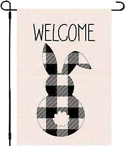 Whaline Welcome Easter Bunny Garden Flag White Black Buffalo Plaid Easter Rabbit Yard Flag 12.5 x 18