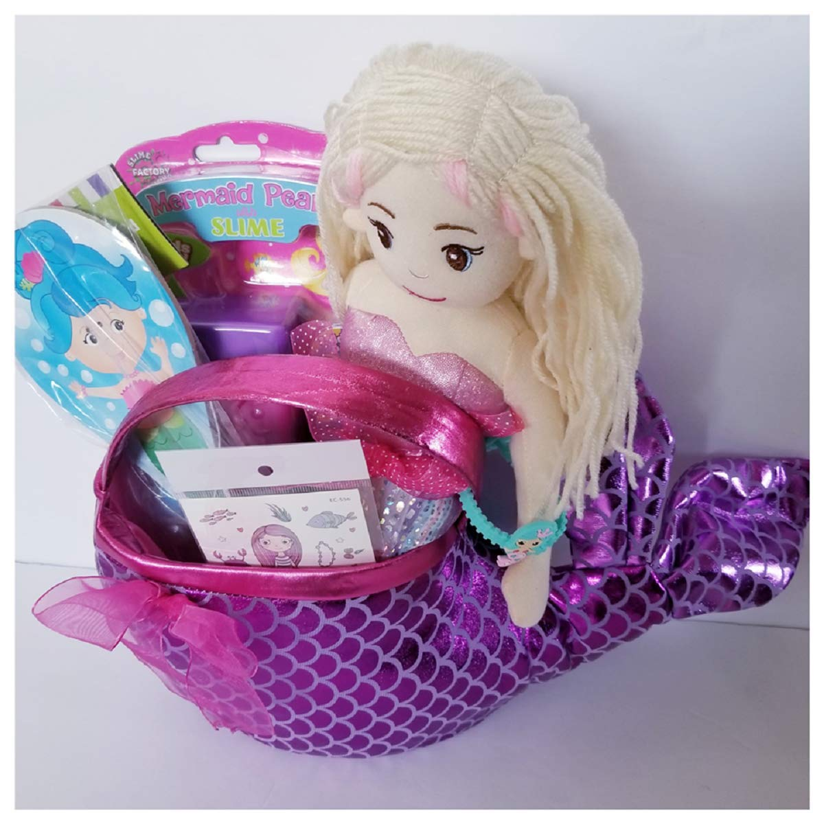 Queen of the Castle Mermaid Themed Easter Basket Includes Mermaid 15'' Tall with Curved Tail