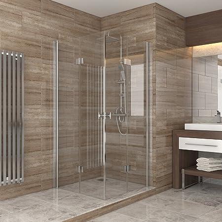 ducha cabina de ducha puerta plegable de vidrio mampara de ducha para rincón plato de ducha 100x100: Amazon.es: Hogar