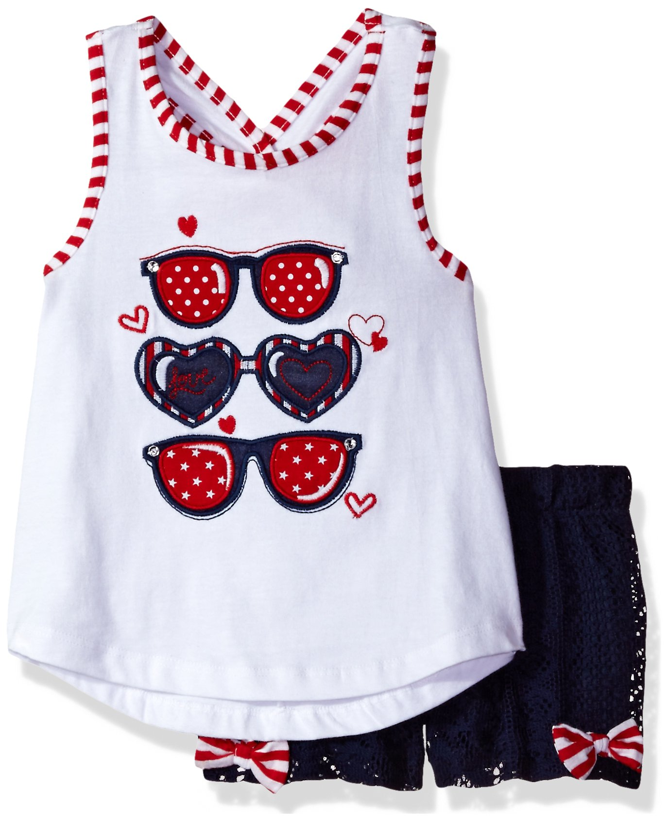 Rare Editions Little Girls' Americana Sunglasses Short Set, White/Navy, 3T