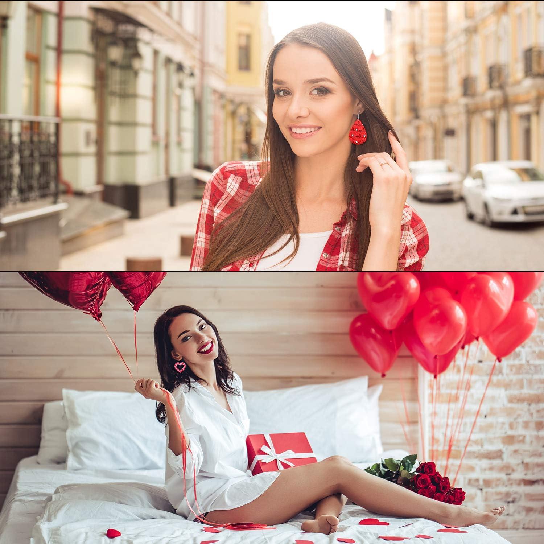 16 Paires Boucles dOreilles de Saint-Valentin en Faux Cuir Boucle dOreille Pendante de Coeur Larme de Femmes