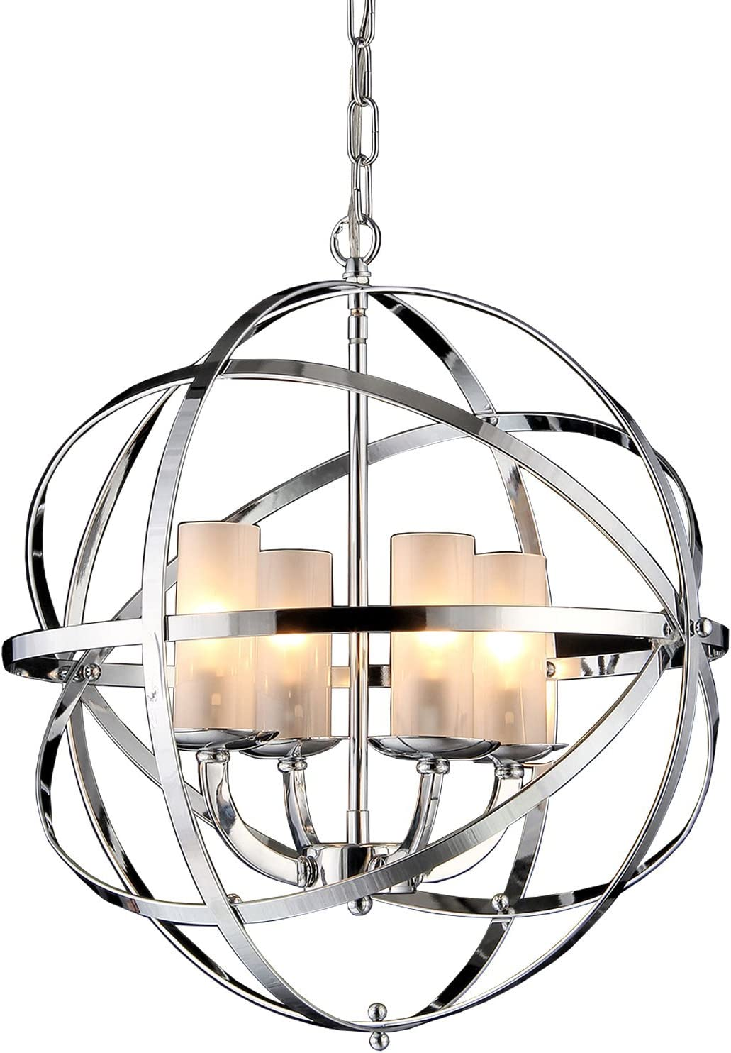 Whse of Tiffany RL8045 Qadira 4-Light Chandelier, 18 , Chrome