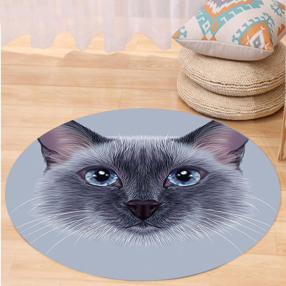 VROSELV Custom carpetAnimal Portrait Image of Thai Siamese Cat with Retro Style Lettering Artwork for Bedroom Living Room Dorm White Sky Blue and Grey Round 72 inches