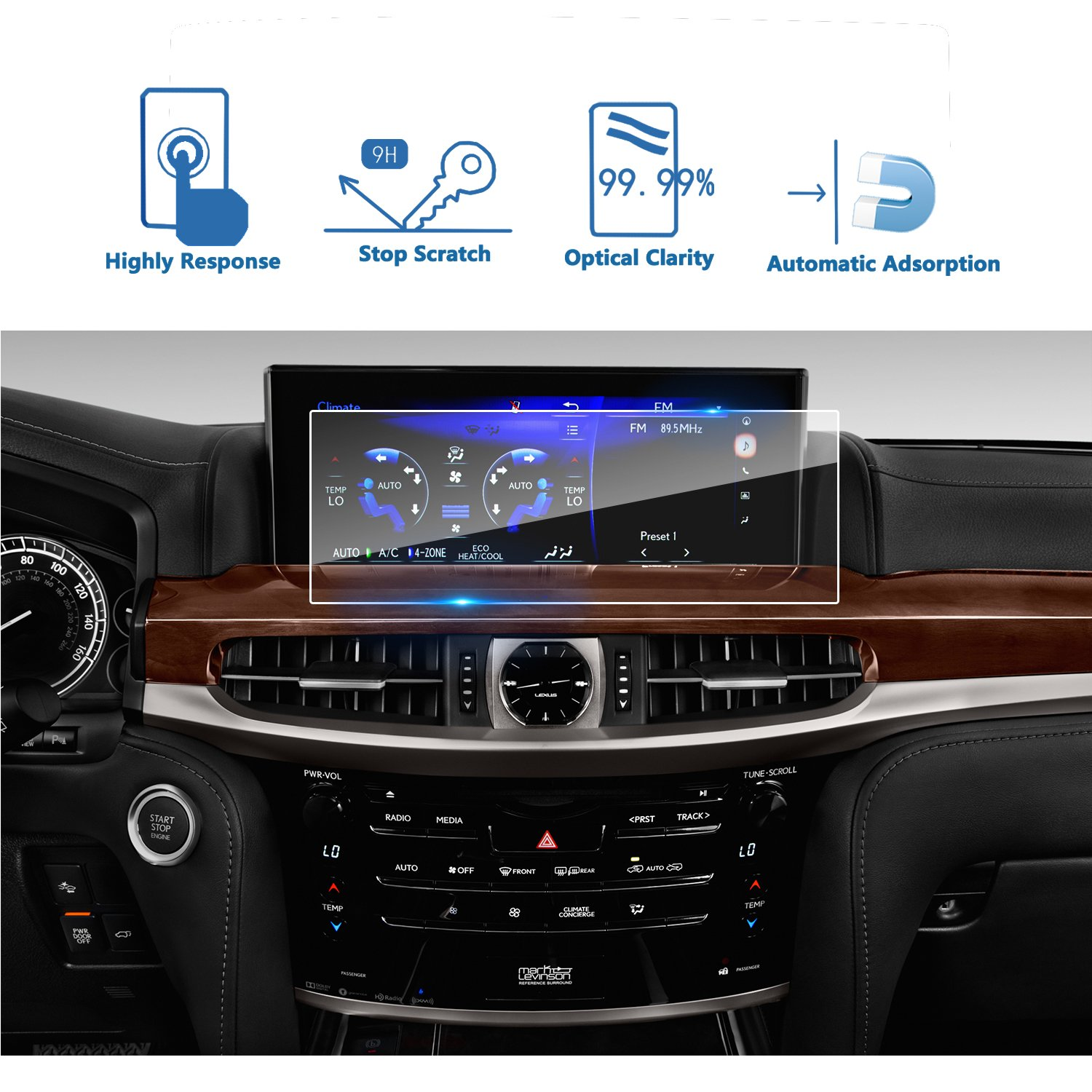 LFOTPP 2016-2018 Lexus LX570 URJ201W 12.3 Inch Car Navigation Screen Protector, [9H] Tempered Glass Infotainment Center Touch Screen Protector Anti Scratch High Clarity