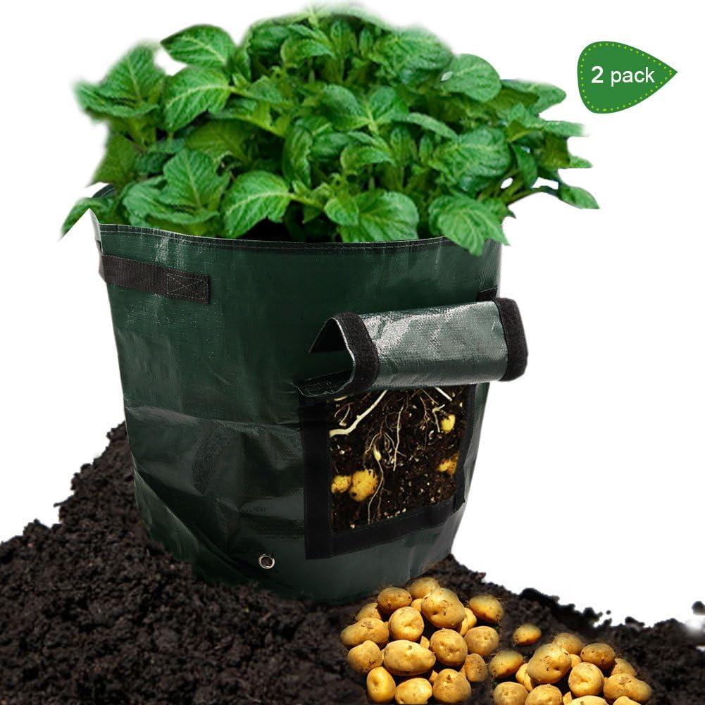 DOESIT 2-Pack 7 Gallon Potato Grow Bags Garden Plant Bag Vegetables Grow Bags with Access Flap