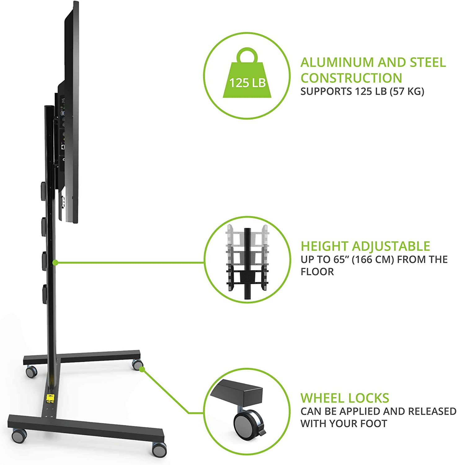 Kanto MKH65 Rolling TV Stand for 37-inch to 65-inch Displays, Black