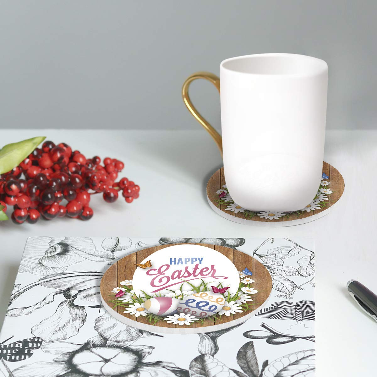 Marks And Scratches Absorbent Coasters for Drinks Galloping White Horse Ceramic Stone with Cork Base Set of 4 No Holder Use as Home Decor and Protect Your Furniture from Water Stains