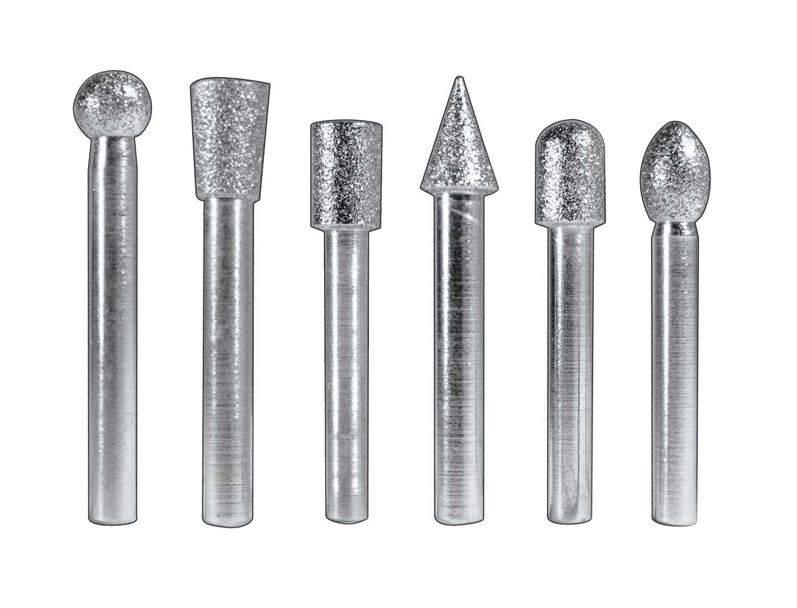 SE Diamond Burrs, 1/2'' Heads x 1/4'' Shank (6 pc)