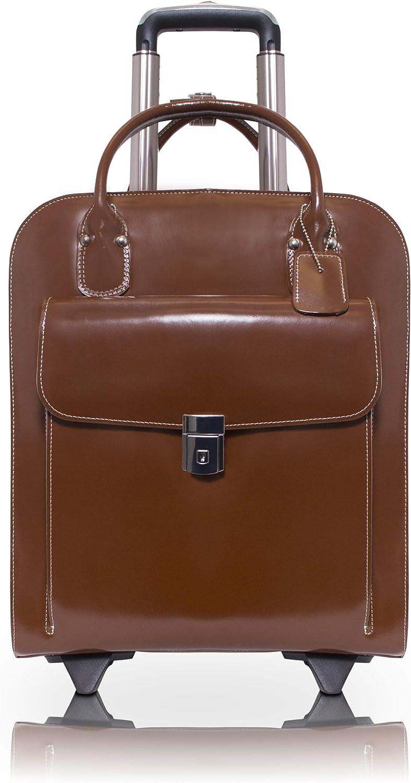 "McKlein, L Series, Uptown, Top Grain Cowhide Leather, 15"" Leather Vertical Wheeled Ladies' Laptop Briefcase, Brown (97694)"