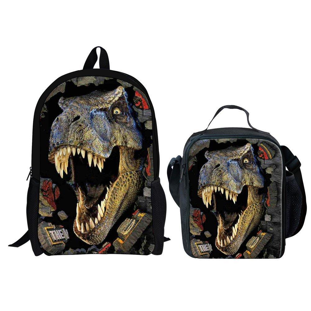 HUGS IDEA 2 Piece 3D Dinosaur Backpack Set Boys School Bag Bookbag with Lunch Bag by HUGS IDEA (Image #1)