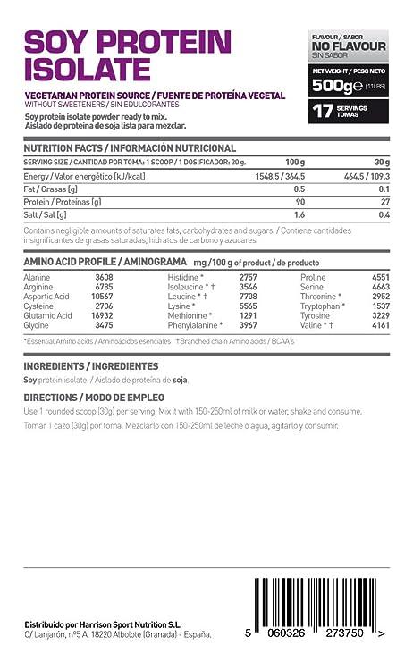 HSN Essentials - Proteína de Soja Aislada en Polvo Sin Sabor - 500g: Amazon.es: Salud y cuidado personal