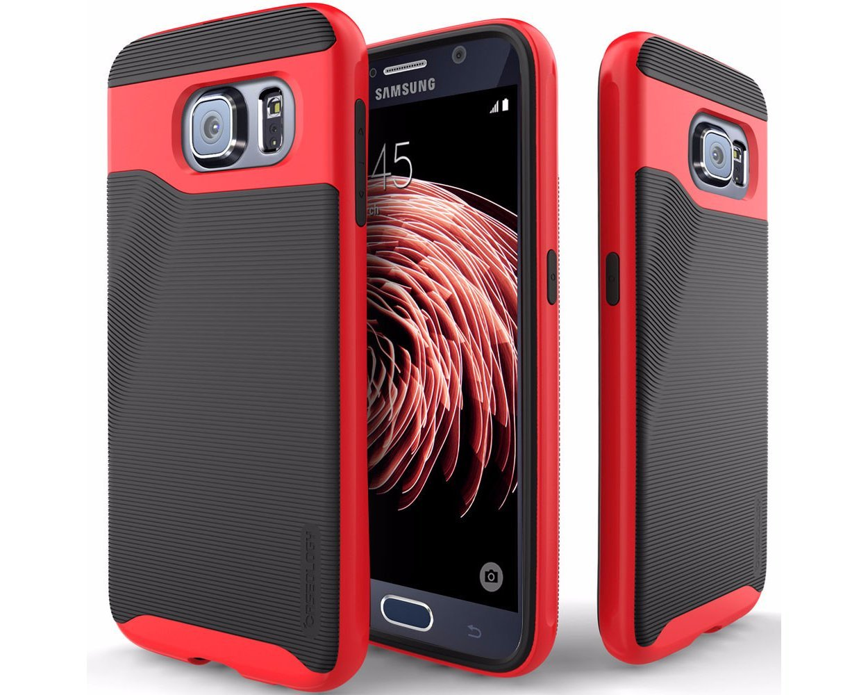 Galaxy S6 case, CaseologyA® [Wavelength Series] [Black / Red] Textured Pattern Grip Cover [Shock Proof] Samsung Galaxy S6 case, [Importado de Reino Unido]: ...