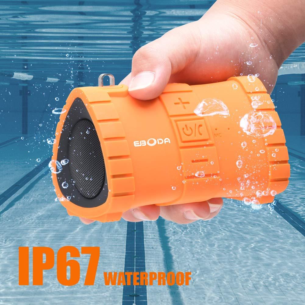EBODA ポータブルBluetoothスピーカー IP67防水ポータブルワイヤレススピーカー 6Wステレオサウンド 内蔵マイク ハンズフリー通話 2000mAhバッテリー 20時間再生 プール/ビーチ/ハイキング/キャンプに オレンジ   B07PQKX25C