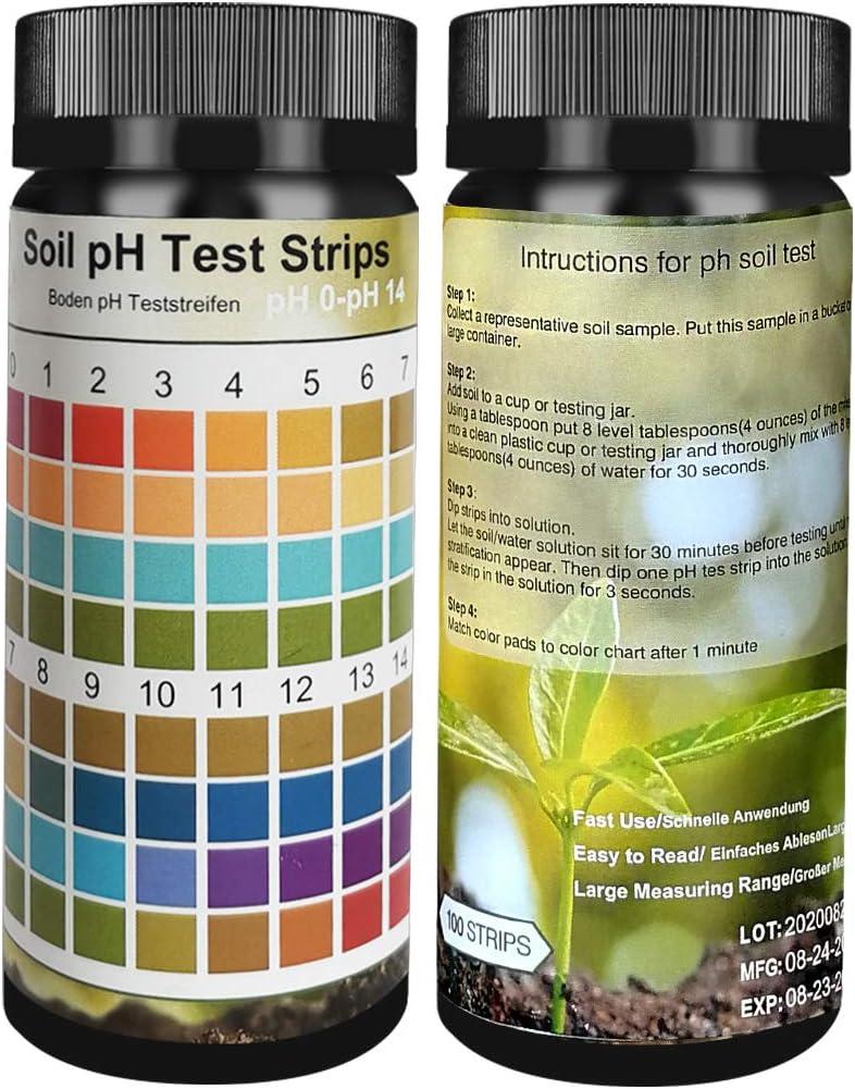 Soil pH Test Kit, Soil Testing Kit, 100 Tests Soil PH Strips for Testing Soil,Garden Soil and Home, Lawn, Farm, Outdoor and Indoor Plants
