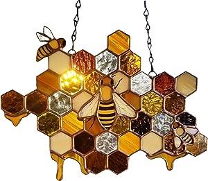 Bee Welcome Sign for Front Door, Bee Signs Decor Outdoor, Hanging Sign for Home Decor, Indoor Outdoor Door Hanging Decoration, Garden Accents Yard Fence 3D Art Sculpture Ornaments, Bee Decorations